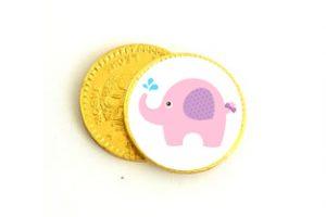 Monedas de chocolate baby shower